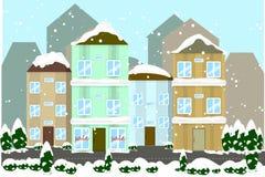 De illustratie van de de winterstad Royalty-vrije Stock Afbeeldingen