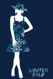De illustratie van de de winterverkoop met vrouwensilhouet in sneeuwvlokken dre Stock Foto's