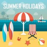 De illustratie van de de zomervakantie Het baden strand Stock Afbeeldingen