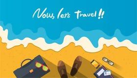 De illustratie van de de zomervakantie, vlak ontwerpstrand en bedrijfsobjecten concept Stock Foto's