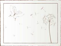 De illustratie van de Desktop met vlinder en paardebloem Royalty-vrije Stock Afbeeldingen