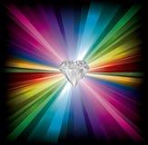 De illustratie van de diamant op regenboogachtergrond stock illustratie