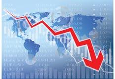 De illustratie van de effectenbeursneerstorting - rode pijl neer Stock Afbeelding