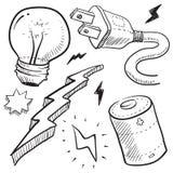 De illustratie van de elektriciteit en van de macht Stock Fotografie
