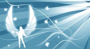 De illustratie van de engel met stralen stock illustratie