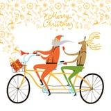 De illustratie van de fietserskerstmis van Santa Claus en van het rendier Royalty-vrije Stock Afbeelding