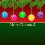 De illustratie van de Groet Card.Vector van Kerstmis. Stock Fotografie