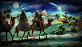 De illustratie van de heilige familie en drie koningen Royalty-vrije Stock Foto's