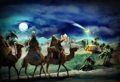 De illustratie van de heilige familie en drie koningen Stock Foto's