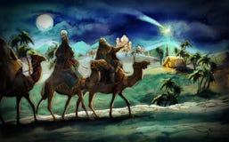 De illustratie van de heilige familie en drie koningen Stock Fotografie