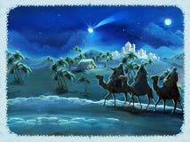 De illustratie van de heilige familie en drie koningen - traditionele scène - illustratie voor de kinderen Royalty-vrije Stock Afbeelding