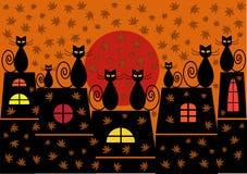 De illustratie van de herfstkatten Stock Afbeeldingen