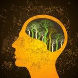 De illustratie van de hersenenboom, boom van kennis Stock Fotografie