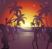 De illustratie van de het strandpartij van de zonsondergang Stock Foto's