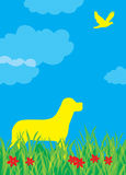 De illustratie van de hond en van de vogel Stock Foto