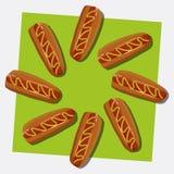 De illustratie van de hotdog. Vector Royalty-vrije Stock Afbeelding