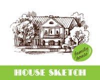 De illustratie van de huisschets vector illustratie