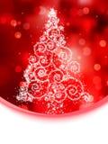 De illustratie van de kerstboom op rode bokeh. EPS 8 Royalty-vrije Stock Foto