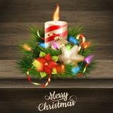 De illustratie van de Kerstmiskaars Eps 10 Stock Afbeeldingen