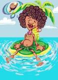 De illustratie van de kleur van een donkere mens op het eiland Stock Afbeelding