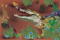 De illustratie van de krokodil en van vlinders stock illustratie
