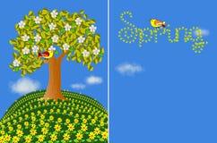 De illustratie van de lente met bloemen, boom en vogels Stock Afbeeldingen
