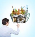 De illustratie van de mensentekening van wereldgezichten Stock Foto's