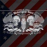 De Illustratie van de motorfietsgrafiek op de Vlagachtergrond van de V.S. Stock Foto's