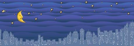 De illustratie van de Nacht van de stad Stock Afbeelding