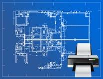 De illustratie van de printerblauwdruk Stock Afbeelding