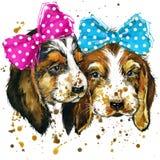 De illustratie van de puppyhond met de geweven achtergrond van de plonswaterverf royalty-vrije illustratie