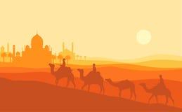 De illustratie van de Ramadan kareem zonsondergang Een de kameelsilhouet van de mensenrit met zonsondergangmoskee royalty-vrije illustratie