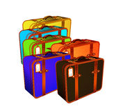 De Illustratie van de reiskoffer, retro-uitstekende bagage Stock Afbeelding