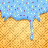De Illustratie van de roomijskegel met Wafeltje en Blauw Royalty-vrije Stock Afbeelding