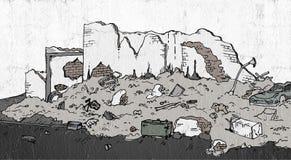 De illustratie van de ruïnesstraat stock illustratie