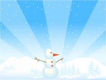 De illustratie van de sneeuwman Royalty-vrije Stock Afbeeldingen
