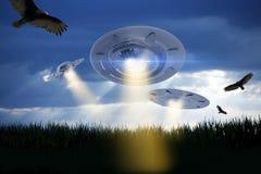 De Illustratie van de UFOaanval Stock Afbeeldingen