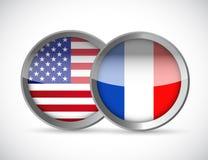 de illustratie van de unieverbindingen van de V.S. en van Frankrijk Royalty-vrije Stock Foto's