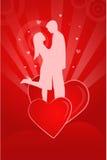 De illustratie van de valentijnskaart met het silhouet van een paar stock illustratie