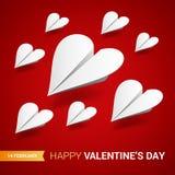 De illustratie van de valentijnskaartendag Groep gestalte gegeven Witboekvliegtuigen stock illustratie