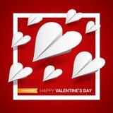 De illustratie van de valentijnskaartendag Groep gestalte gegeven Witboekvliegtuigen vector illustratie