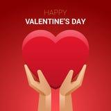 De illustratie van de valentijnskaartendag Handen die hartteken houden stock illustratie