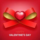 De illustratie van de valentijnskaartendag Lint met Hart stock illustratie
