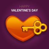 De illustratie van de valentijnskaartendag Sleutel tot het hart als symbool van lov vector illustratie