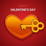 De illustratie van de valentijnskaartendag Sleutel tot het hart als symbool van lov stock illustratie