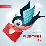 De illustratie van de valentijnskaartendag Vogel met liefdebrief vector illustratie