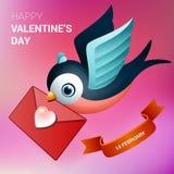 De illustratie van de valentijnskaartendag Vogel met liefdebrief royalty-vrije illustratie