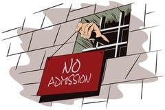 De illustratie van de voorraad gevangenis De hand houdt een teken Royalty-vrije Stock Afbeeldingen