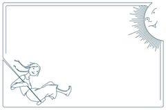 De illustratie van de voorraad Grafische lijn Leuk meisje op een schommeling Een het glimlachen zon Royalty-vrije Stock Afbeelding