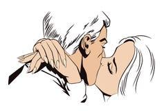 De illustratie van de voorraad Mensen in retro stijlpop-art en uitstekende reclame kussend paar vector illustratie